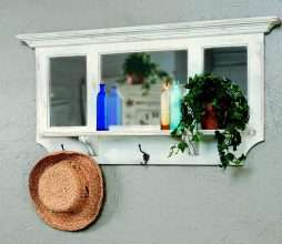 3 Pane Mirror with Shelf